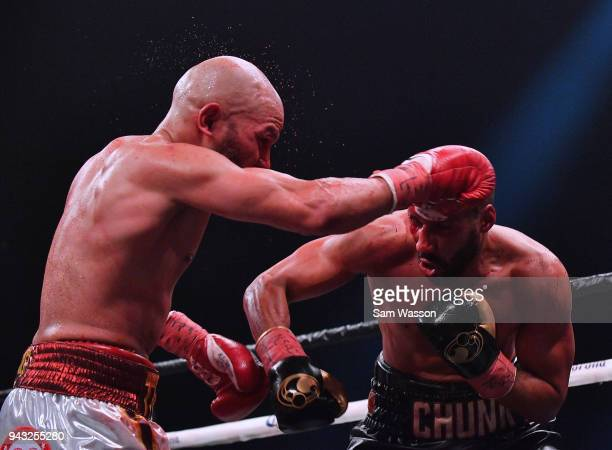 Caleb Truax throws a right at James DeGale during their IBF super middleweight title fight at The Joint inside the Hard Rock Hotel Casino on April 7...