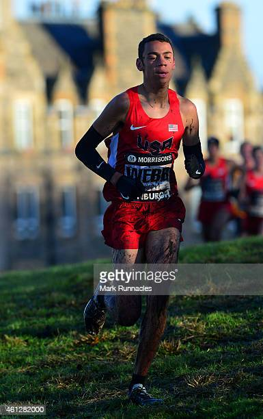 Caleb Webb of the United States competing in the Junior mens 6k race during the Great Edinburgh X Country at Holyrood Park on January 10 2015 in...