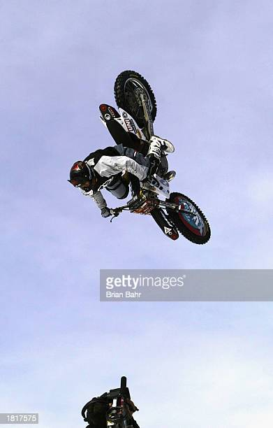 Caleb Wyatt of Medford Oregon performs a backflip during the Moto X Big Air Finals at the Winter X Games VII at Buttermilk Mountain on February 1...