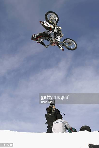 Caleb Wyatt of Medford Oregon practices a back flip for the Moto X Big Air competition during the Winter X Games VII at Buttermilk Mountain on...