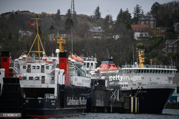 Caledonian MacBrayne ferries are moored in Oban harbour during the Coronavirus crisis on April 2 2020 in Oban Scotland The Coronavirus pandemic has...