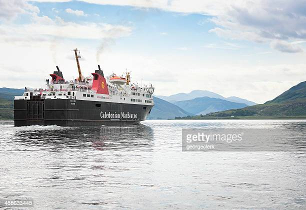 caledonian macbrayne ferry leaving ullapool harbour - ferry stock photos and pictures