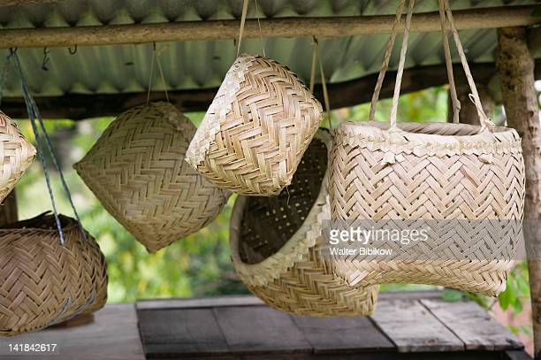NEW CALEDONIA-Northern Grande Terre Island-PUEBO- Locally woven baskets for sale by the roadside