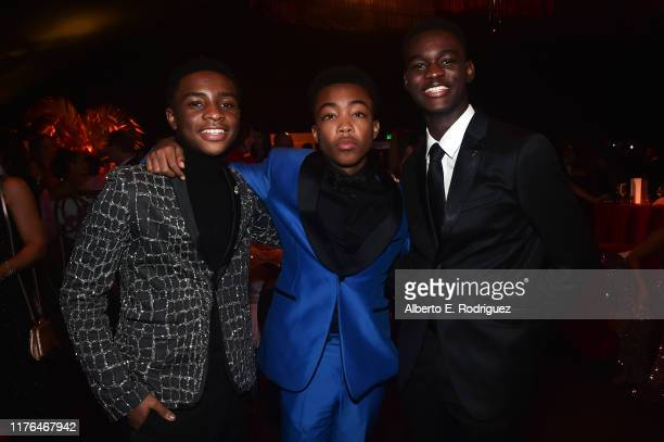 Caleel Harris Asante Blackk and Ethan Herisse attend the Governors Ball during the 71st Emmy Awards at LA Live Event Deck on September 22 2019 in Los...