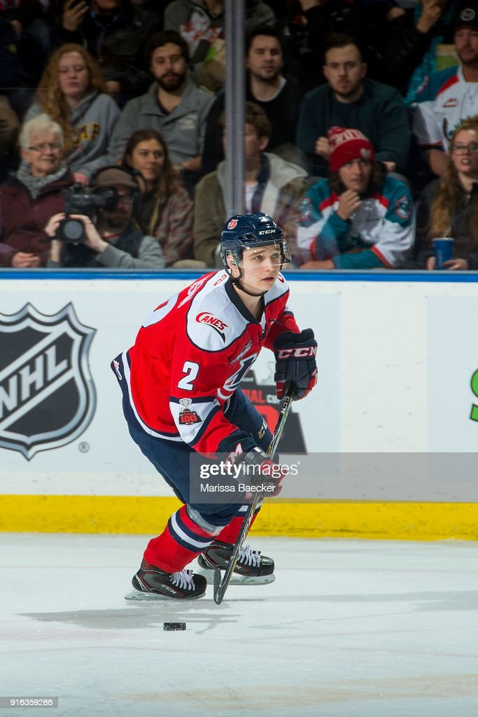 Calen Addison #2 of the Lethbridge Hurricanes skates against the Kelowna Rockets at Prospera Place on January 17, 2018 in Kelowna, Canada.