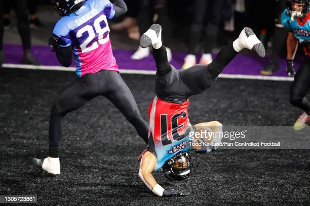 Calen Campbell of the Glacier Boyz scores a touchdown against the Wild Aces during the first half of a Fan Controlled Football game at Infinite...
