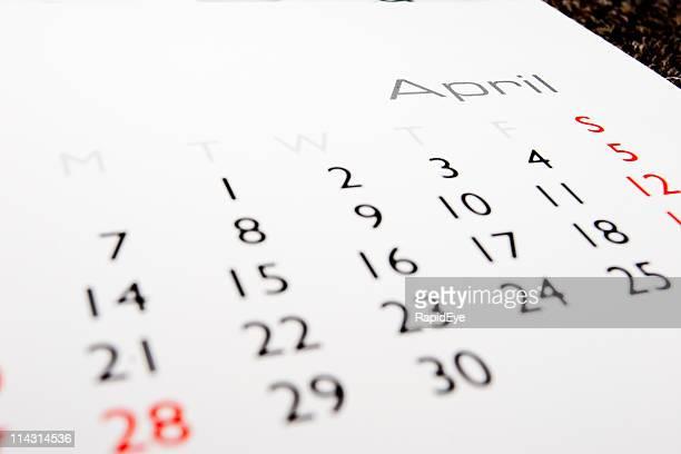 Calendrier: D'avril