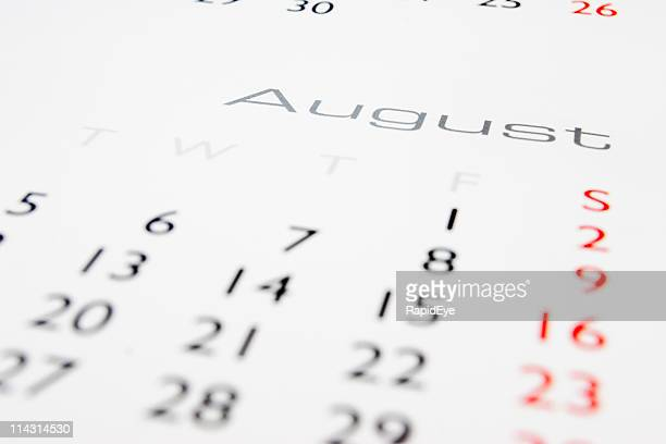 calendario: agosto - agosto foto e immagini stock
