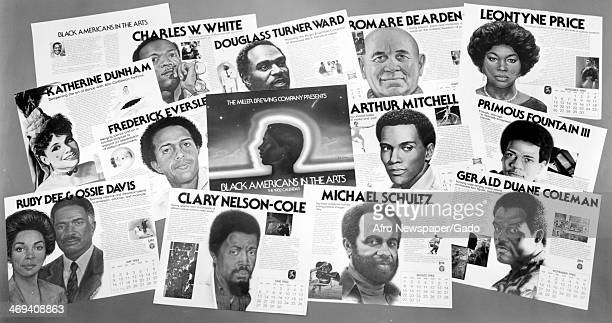 A 1962 calendar by the Miller Brewing company entitled 'Black Americans in the Arts' and containing portraits of Charles W White Douglass Turner Ward...