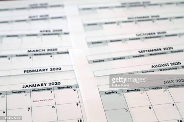 2020 calendar folders. new year concept - calendar icon stock photos and pictures