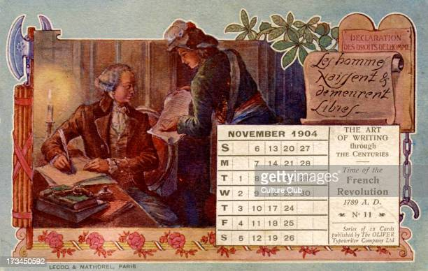 Calendar for November 1904 Illustrates the writing of the 'Declaration des droits de l'homme' 'men are born and remain free' during the French...