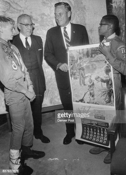 Calendar for the Governor Gov John Love second from right receives a 1970 Boy Scout calendar from left to right Randy Sabados of 2208 Fairfax St a...