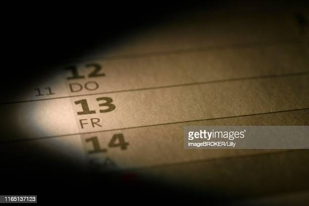 calendar, friday the 13th, germany - friday stock pictures, royalty-free photos & images