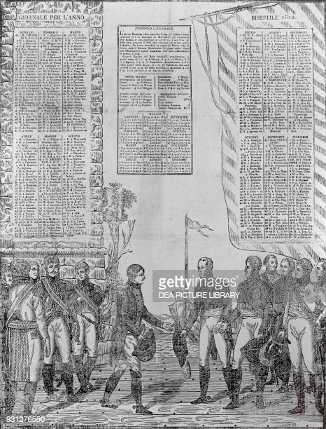 Calendar from 1812 depicting the meeting between Napoleon Bonaparte Alexander I Romanov of Russia and Frederick William III of Prussia on the banks...
