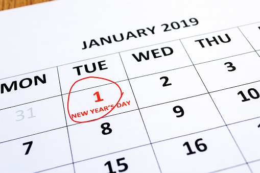 Calendar Indicating New Year Day on 1st January - gettyimageskorea