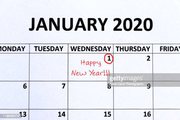 calendar indicating new year day on 1st january - 2020 calendar stock photos and pictures
