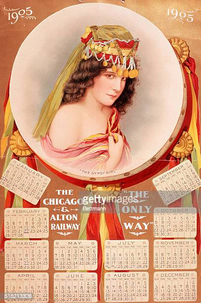 Calendar issued by Chicago and Alton railroad 1905 Color