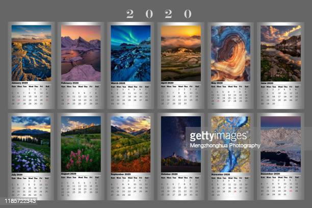 2020 calendar (horizontal)-landscapes in united states, norway, china. - 2020 calendar stock photos and pictures