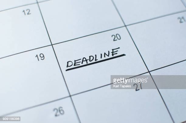 A calendar marked with deadline
