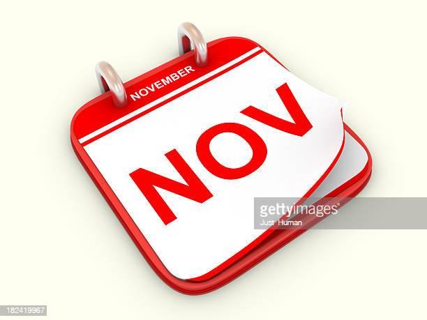 calendar month november - calendar icon stock photos and pictures