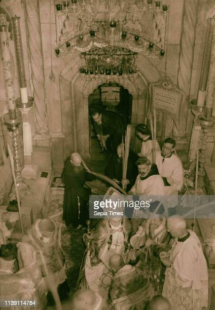 Calendar of religious ceremonies in Jer [ie Jerusalem] Easter period 1941 Palm Sunday procession Blessing palms Bringing them out fr[om] Tomb [Church...