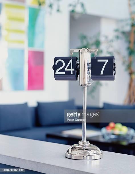 Calendar on reception desk, close-up