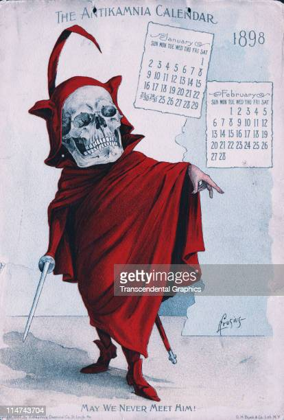 Calendar page issued by the Antikamnia Chemical company of St Louis featuring macabre skeletal art work by L Cruzias printed by Buek Litho 1897