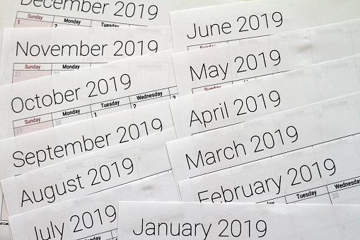2019 Calendar - gettyimageskorea