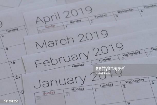 2019 calendar - mois de mars photos et images de collection