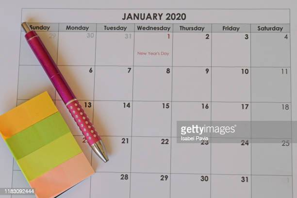 2020 calendar - january stock pictures, royalty-free photos & images