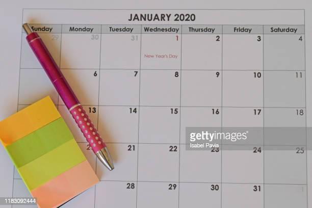 2020 calendar - 一月 ストックフォトと画像