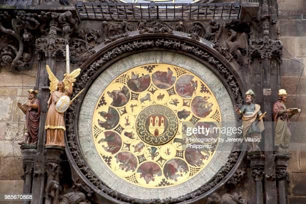 calendar plate of the prague astronomical clock - astronomical clock prague stock pictures, royalty-free photos & images