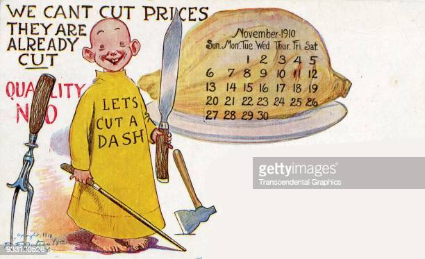 Calendar postcard features cartoon character 'The Yellow Kid' created by RF Outecult as he holds a set of butcher's implements accompanied by text...