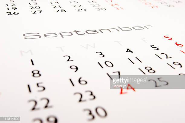 kalender: september - september stock-fotos und bilder