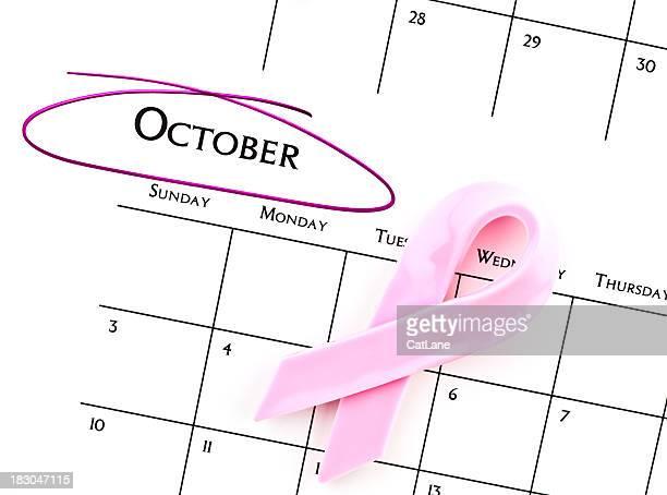 calendrier série mois de sensibilisation au cancer du sein - octobre photos et images de collection