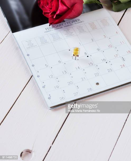 Calendar sheet with yellow thumbtack ponting February fourteenth, Valentin's Day and two red roses on pink wood background. Selective focus