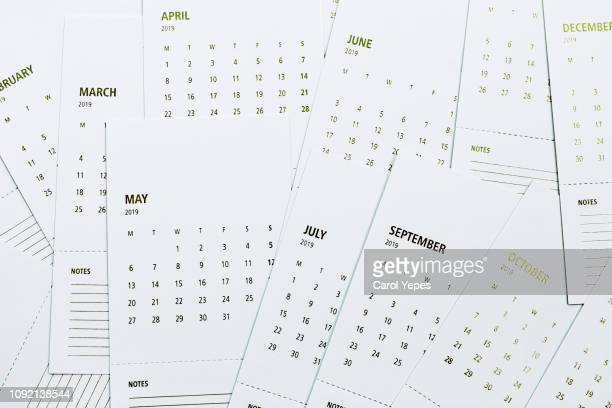 2019 calendar sheets.top view - week stock pictures, royalty-free photos & images