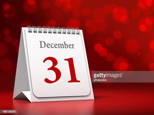 Calendario con feliz Año Nuevo Fecha