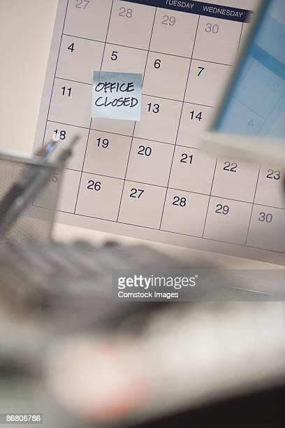 Calendar with office closed note