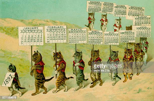 Calendar with Parading Cats
