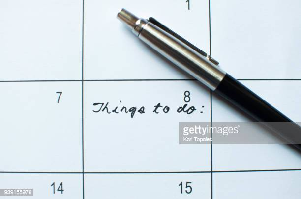 A calendar with things to do note on it