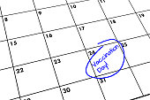 closeup partial view calendar vaccination day