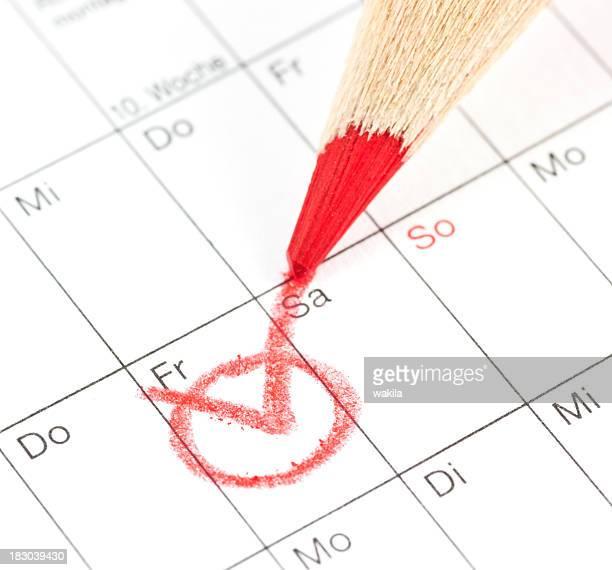 カレンダー-termin deutschen kalender 回転 markieren に - 金曜日 ストックフォトと画像