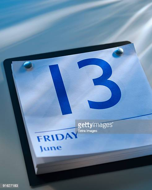 A calender showing Friday the thirteenth