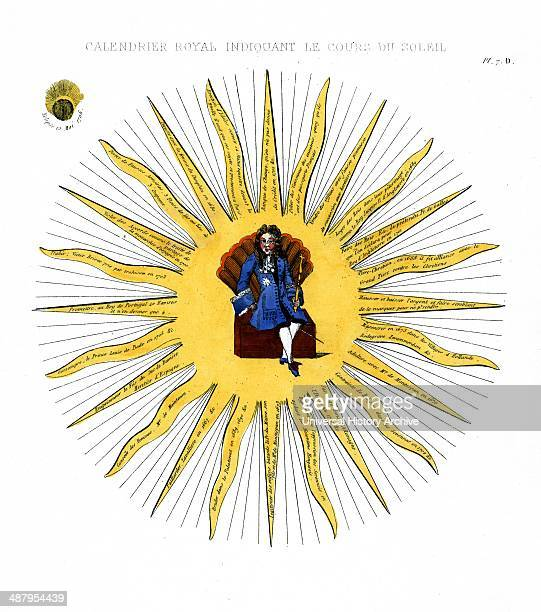Calendrier royal indiquant le cours du soleil 1706 Print shows Louis XIV sitting on a box with fanshaped back in the centre of a sun The numerous...