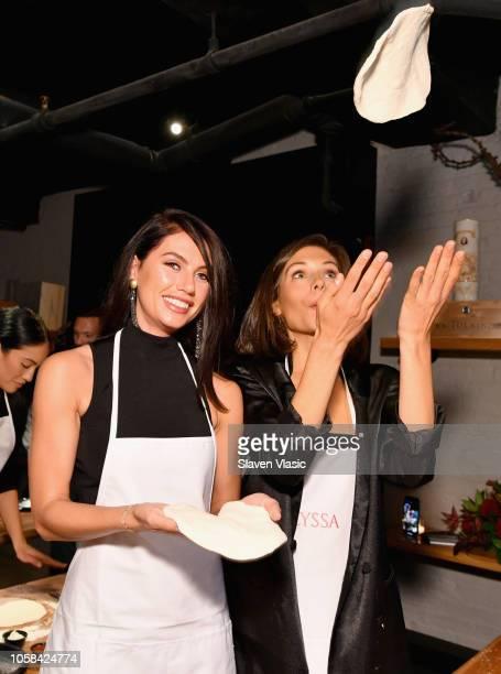 Caley Pavillard and Alyssa Lynch attend the Victoria's Secret Influencer Pizza Making Class at Obica Mozzarella Bar Pizza e Cucina NY Flatiron on...