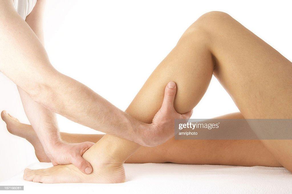 calf massage : Stock Photo