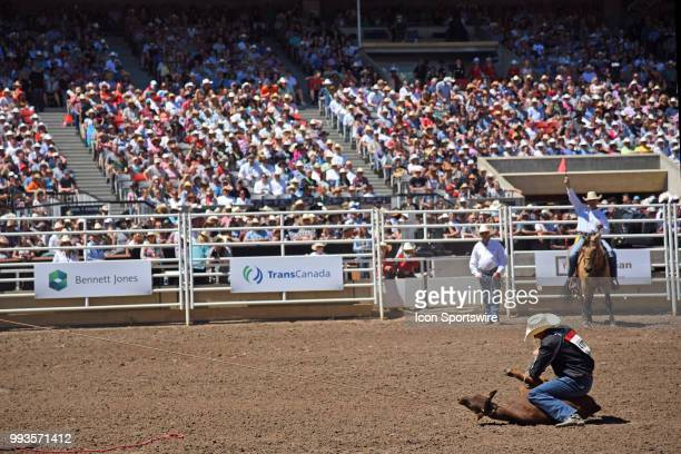 Calf roping action in front of a full house at the Calgary Stampede on July 7 2018 at Stampede Park in Calgary AB