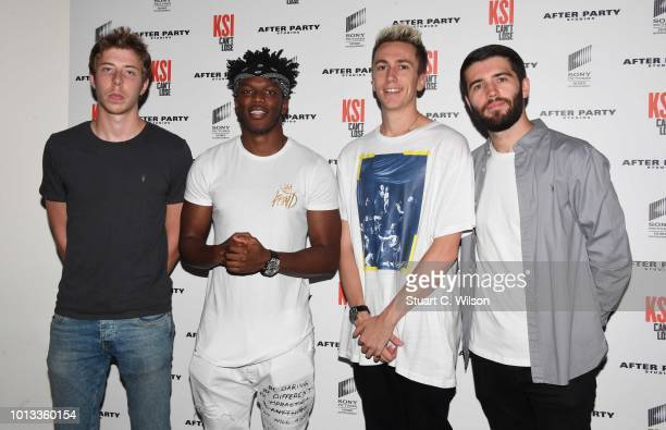 Calfreezy KSI Miniminter and Zerkaa attend the World Premiere of 'KSI Can't Lose' documentary at Picturehouse Central on August 8 2018 in London...