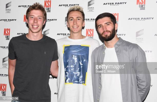 Calfreezy Miniminter and Zerkaa attend the World Premiere of 'KSI Can't Lose' documentary at Picturehouse Central on August 8 2018 in London England